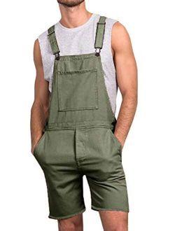 Runcati Mens Bib Overall Shorts Lightweight Cotton Casual Loose Fit Denim Jumpersuit Walkshort Pockets Rompers