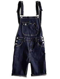 Sokotoo Men's Dark Blue Denim Knee Length Bib Overalls Shorts