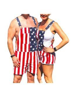 CHUANGJIE Unisex Patriotic American Flag Print Denim Bib Overall Shorts Jeans-Mens & Womens One Piece Jumpsuit