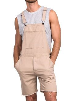 Mens Bib Overalls Short Jumpusuit Men One Piece Coverall With Pockets