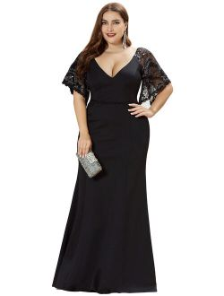 Evening Dress For Women Formal Plus Size Bridesmaid Dress For Wedding Guest 05502 Black Us16