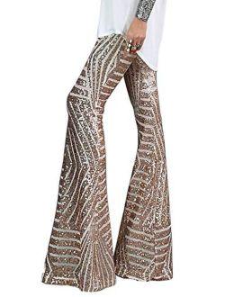 Azokoe Women High Waist Wide Leg Palazzo Lounge Pants Sequin Bell Bottoms Trousers
