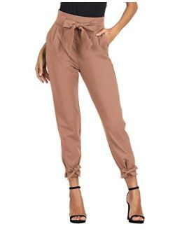 Womens Casual High Waist Pencil Pants With Bow-knot Pockets For Work