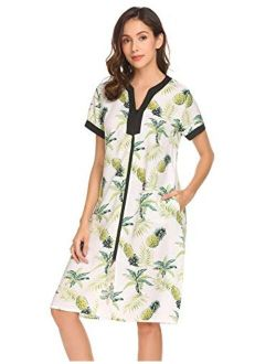 Nightgown Women Housecoats Zipper Front Robe V Neck Ladies Lightweight Duster & Long Houedress With Two Pockets
