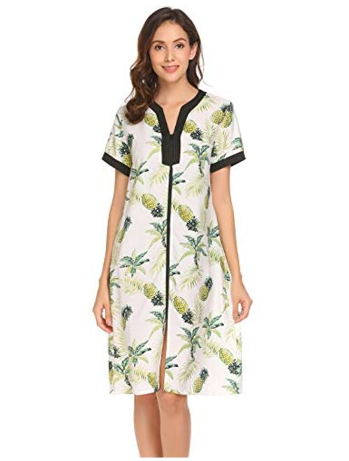Ekouaer Nightgown Women Housecoats Zipper Front Robe V Neck Ladies Lightweight Duster & Long Houedress with Two Pockets