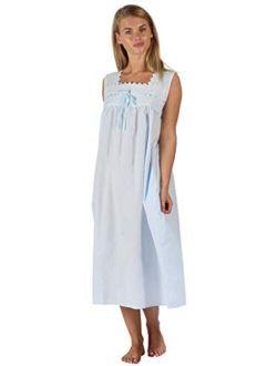 The 1 for U Nightgown 100% Cotton Womens Sleeveless Nightie + Pockets LAU/SL