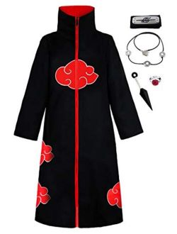 KuKiee Unisex Long Ninja Robe Akatsuki Cloak Halloween Cosplay Costume Uniform