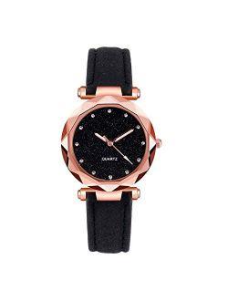 Womens Fashion Retro Watches, Leather Analog Quartz Watch for Ladies, Nice Design Dress Casual Classic Wrist Watch