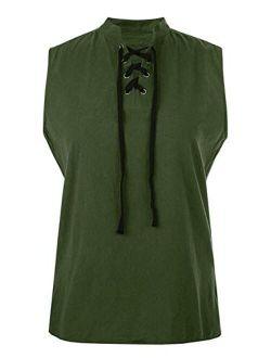 Enjoybuy Mens Pirate Shirt Medieval Viking Sleeveless T Shirts Lace Up Banded Collar Casual Tank Tops