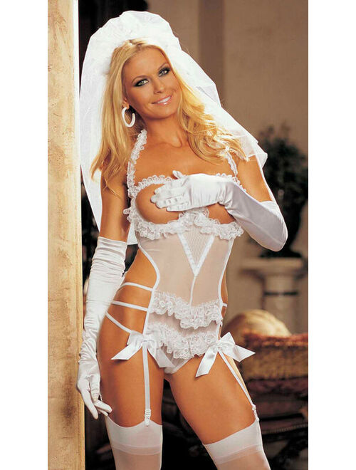 One Size Fits Most Womens Two Piece Open Bust Bridal Teddy Set