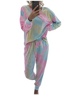 Womens Tie Dye Loungewear Sets Long Sleeve Tops Pajamas Sets Sleepwear Night Shirt