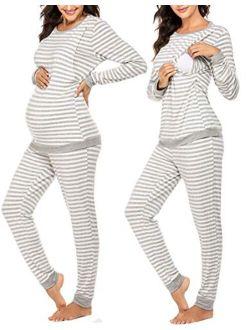 Maternity & Nursing Thermal Underwear Set Striped Knit Long Johns Set Top & Bottom Base Layer For Pregnant Women