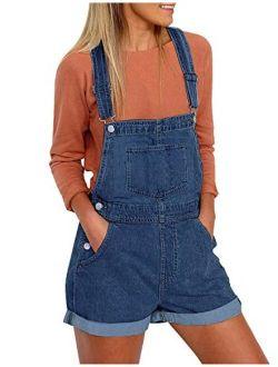 Utyful Womens Adjustable Straps Denim Bib Overalls Shorts Roll Cuff Shortalls
