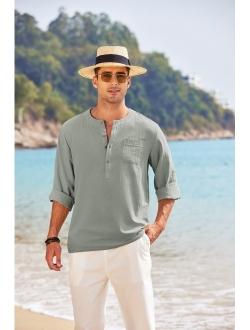 Mens Cotton Linen Henley Shirt Casual Beach Lightweight Solid Top Shirt