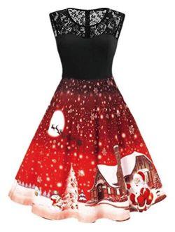 Nicetage Womens Vintage Sleeveless Bat Cat Pumpkin Print Dress Halloween Party Dress 50s Cocktail Dress
