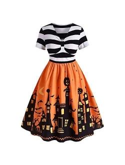 ROSE GAL Women's Plus Size Halloween Dress Funny Striped Pumpkin Halloween Costume Flared Dresses