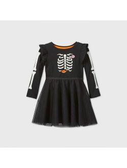 Rls' Skeleton Tulle Long Sleeve Dress - Cat & Jack Black