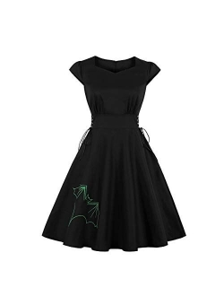 Wellwits Women's Embroidery Lace up Gothic Black Halloween Vintage Dress
