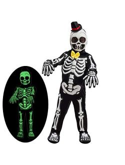 Spooky Skelebones Deluxe Skeleton Kids Toddler Costume Set with Glow in The Dark Effect on Skull for Halloween Dress Up Party