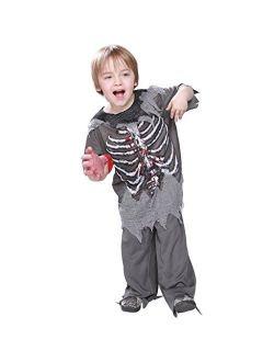EraSpooky Skeleton Bloody Zombie Boy Costume Horror Halloween Kids Fancy Dress Outfit