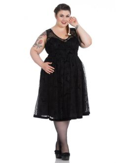 Hell Bunny Plus Size Gothic Black Spiderweb Halloween Bats Tulle Dress 2X 3X 4X