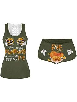Women 2 Piece Halloween Costumes If You Like My Pumpkins You Should See My Pie Tank Top + Funny Shorts Sportwear Tracksuits