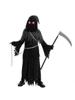 Spooktacular Creations Child Unisex Glowing Eyes Reaper Costume for Creepy Phantom Halloween Costume