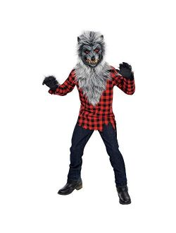 Amscan Hungry Howler Werewolf Halloween Costume for Boys, Includes Mask, Shirt with Fur, Gloves