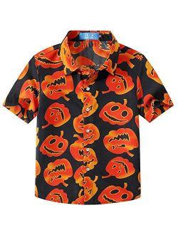 SSLR Big Boys' Fun Button Down Short Sleeve Halloween Shirt