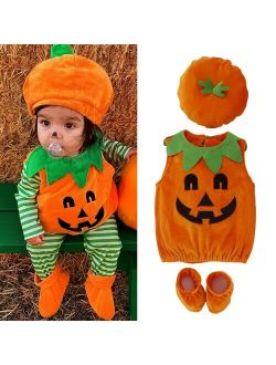 3PCS Newborn Baby Girl Boy Halloween Pumpkin Costume Romper Dress Shoes Hat Outfits Age For 0-3 Years