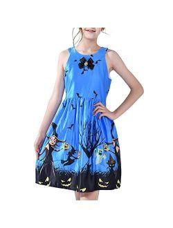 Sunny Fashion Girls Dress Halloween Party Witch Bat Pumpkin Halter Dress