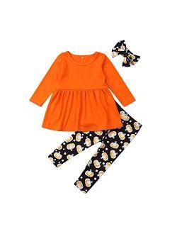 Toddler Baby Girls Halloween Outfits Ruffles Long Sleeve Top Pumpkin Legging Flare Pants 2pcs Clothes Set