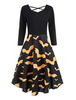 Imysty Womens Halloween Dress Sexy V Neck Printed Flared Party Midi Dress