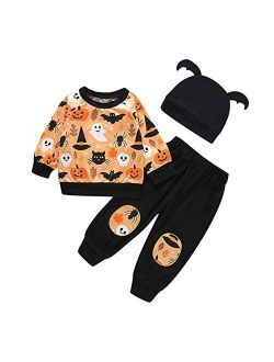 Halloween Outfit Toddler Baby Boys Girls Halloween Clothes Ghost Pumpkin Top + Long Pant + Hat 3pcs Outfit Set