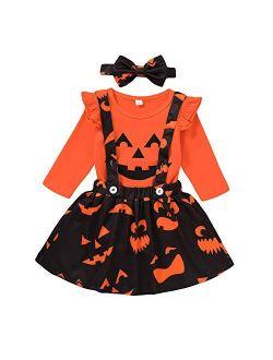 Toddler Baby Girls Halloween Outfit Pumpkin Plaid Ruffles Sleeve Shirt Tops Suspender Skirt Clothes Set