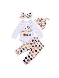 Infant Baby Girl Boy Halloween Clothes Letter Print Romper Top Pumpkin Long Pants with Headband 3Pcs Outfits 0-24M