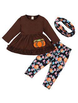 4Pcs Baby Girls My 1st Halloween Thanksgiving Outfits Pumpkin Print Romper+Bow Tutu Dress+Headband+Leg Warmers Skirt Set
