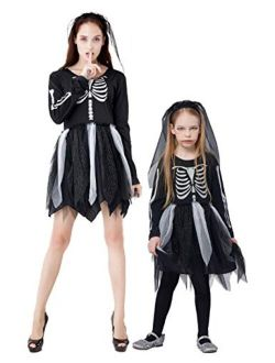 Skeleton Costumes, Halloween Scary Fancy Dress Up, Zombie/Ghost Outfit for World Book Day, Carnival Party