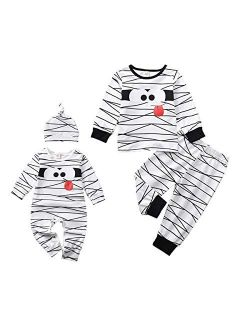 Aalizzwell Toddler Baby Halloween Romper Outfit PJS for Kids Funny Mummy Onesie