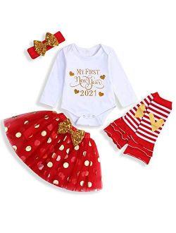 Baby Girl Halloween Outfits 1st Birthday Pumpkin Printd Romper Toddler Dots Orange Tutu Skirt with Headband 4pcs Clothing