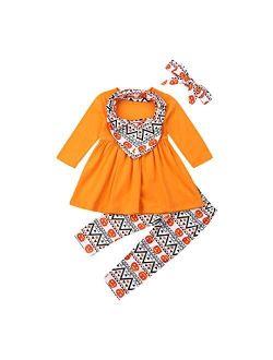 2Pcs Toddler Kids Baby Girls Halloween Outfit Yellow Dress Tops Shirts Pumpkin Long Pants Scarf Headband Clothes Set 1-7T