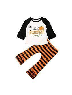 2Pcs Toddler Baby Girl Halloween Clothes Pumpkin Unicorn Long Sleeve Tops Striped Legging Pants Pajama Set