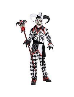 AMSCAN Sinister Jester Halloween Costume for Boys, Includes Tunic, Hat, Mask, Pants, Sash