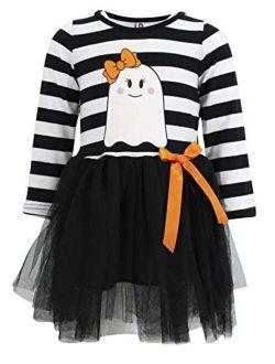 Unique Baby Girls Halloween Ghost Long Sleeve Tutu Skirt Dress