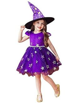 Girl Halloween Costumes Cat Dress Cosplay Witch Hat Holiday Party Tulle Performance Wear Pageant Dress
