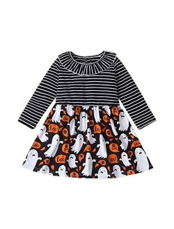Toddler Baby Halloween Outfits Kids Girls Long Sleeve Dress Striped Skirts Halloween Dress
