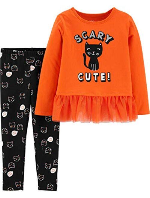 Carter's Toddler Girls Orange Black Cat Kitten Sparkle Glitter Tutu 2 Pc Set