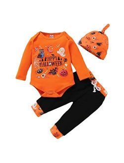 Infant Baby Girl Boy Halloween Clothes Pumpkin Romper with Hat and Long Pants Outfits Set