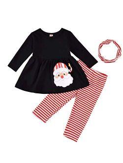 Toddler Kids Baby Girls Christmas Outfit Santa Print Shirts Tops Dress Pants Leggings Headband Halloween Clothes Set