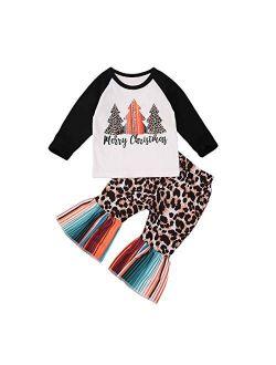 Toddler Kid Baby Girls Halloween Outfits Ruffled Long Sleeve Pumpkin Top Blouse Striped Pants Set